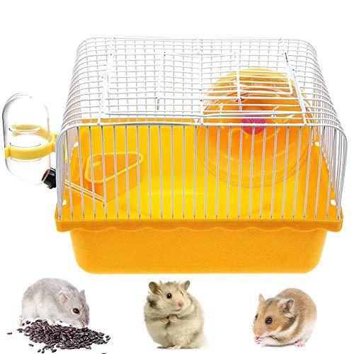 Jaula para Hamster, Jaula Hamster Caseta Bebedero Comedero para Jerbo, Rata, Chinchilla, 23 x 17 x 15 cm (Naranja)
