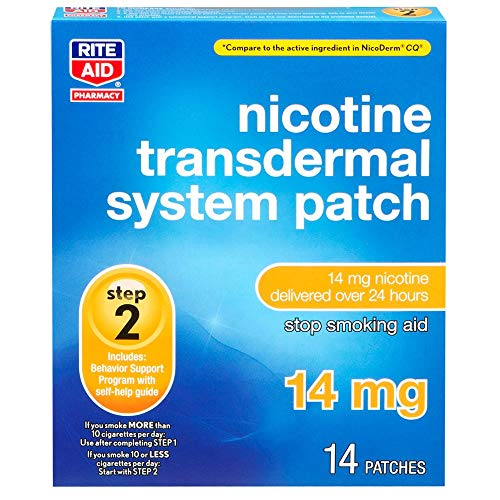Rite Aid Nicotine Transdermal System Patch, Step 2, 14 mg - 14 Count | Quit Smoking Patches