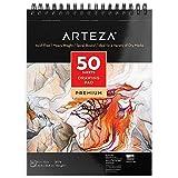 Arteza Cuaderno de dibujo, tamaño 8x10' (20,3cm x 25,4 cm), 50 hojas de 130 gramos sin ácido, encuadernado en doble espiral, bloc para medios secos, ideal para lápiz, carbón, cera o bolígrafo