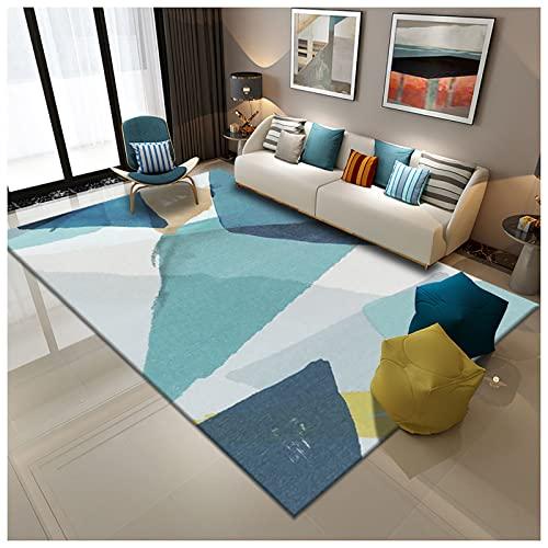 Alfombra de salón, Moderno para Salón Dormitorio,Home Alfombra Pelo Corto, Atractiva Diseño Clásico, para Sala de Estar Dormitorio Estudio Habitación Infantil, Varios tamaños-Verde claro 2x3m(6.5x9.8f