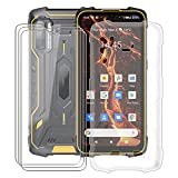 HHUAN Phone Case with 3 Piece Screen Protector Tempered Glass, for Cubot King Kong 5 Pro (6.09 inch) Clear Soft Silicone TPU Bumper Shell, Shock Absorption Anti-Yellowing Protective Cover - Clear