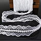 FQTANJU 10 Yards Braided Beaded Pearls Trimming Lace Ribbon Trim Applique Pearl Fringe for Bridal Wedding Party Decoration, Home Deco, Costume, Craft Sewing Supplies (White)