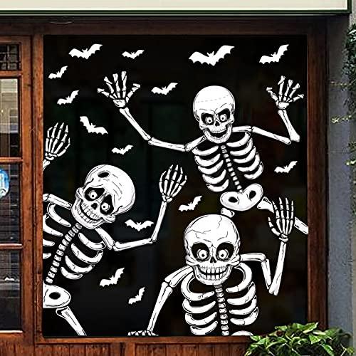 YZHY Pegatinas para ventana de Halloween, esqueleto, esqueleto, fantasmas, murciélagos, Halloween, decoración para paredes de cristal de Windows