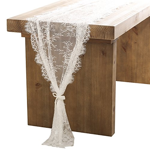 ling's moment 32x120 Inches White Lace Table Runner/Overlay Rustic Chic Wedding Reception Table Decor Boho Party Decoration Baby Bridal Shower Decor