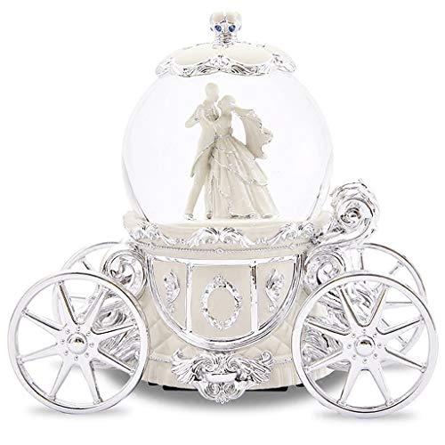 Caja de música Waltz Music Box con copo de nieve, bola de cristal real el Príncipe y la princesa, el mejor regalo para la fiesta de San Valentín, bodas, juguetes musicales