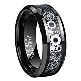 Wow Jewelers Black Silver Tungsten Rings for Men Women Wedding Bands Steampunk Gear Wheel Carbon Fiber Inlay Beveled Edges Comfort Fit