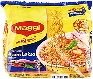 Maggi Nestle Malaysia 2 Minute Instant Noodles Asam Laksa 5 Packs x 79g Asam Laksa Mee Chili Curry Kari Soup