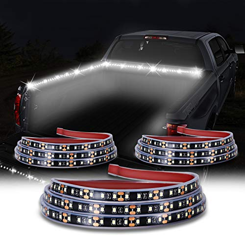 KUFUNG Truck Bed Light Strip, 3PCS 60'' 405-SMD-LED White LED Strip with On/Off Switch, Blade Fuse Splitter Extension Cable, for Cargo, Pickup, Truck, SUV, RV, Boat