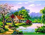 5D DIY Diamond Painting Kits Diamond Painting Landscape House Cross Stitch Kit Beaded Diamond Embroidery Scenery Full Set Home Decoration Sin marco-40x50cm