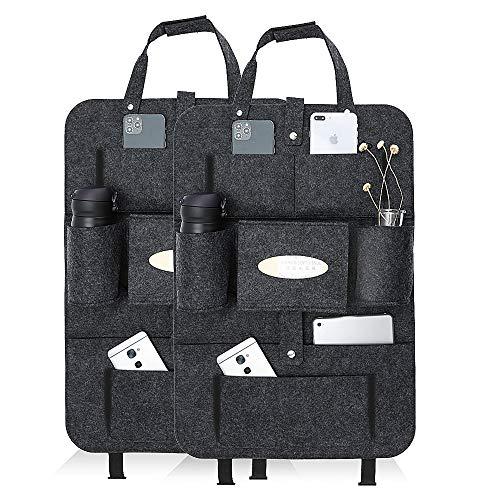 Rückenlehnenschutz Auto kinder Luchild 2st Auto Organizer Filz, Autositzschoner rücksitztasche mit iPad/Tablet-Tasche, Kick-Matten-Schutz für Autositz Aufbewahrungstasch (Dunkelgrau aus Fliz)
