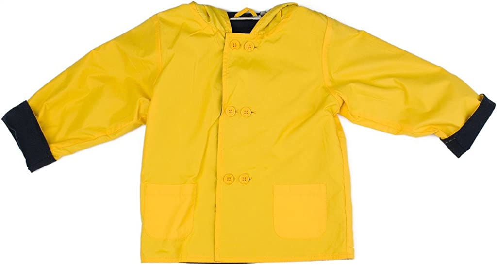 Boutique Collection Yellow Hooded Jacket-Raincoat w/Double Buttons & Navy Cotton Lining