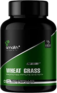 Amalth Organic Wheat Grass Superfood Powder 1000mg 90 Capsules - Immune Support, Immunity Supplement, Overall Health Support