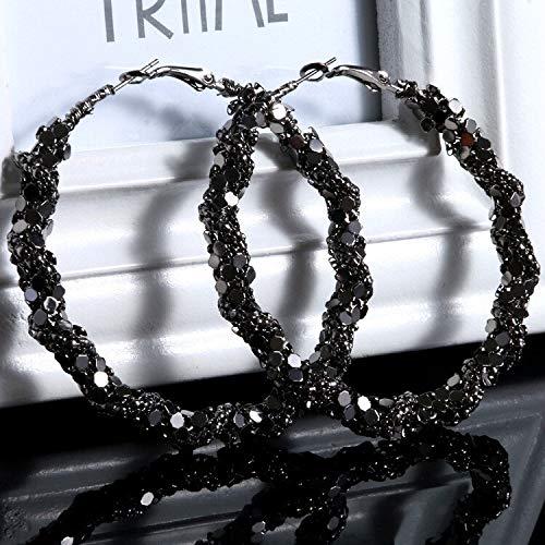 Pendientes grandes retro de aro negro grandes pendientes de aro para mujer estilo punk pendientes redondos joyería de moda grandes (color de la piedra principal: 6 cm)