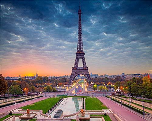 YEESAM ART DIY Ölgemälde Malen nach Zahlen Erwachsene Kinder, Paris Eiffelturm Panoramisch Zahlenmalerei ab 5 Öl Wandkunst (Eiffelturm, mit Rahmen)