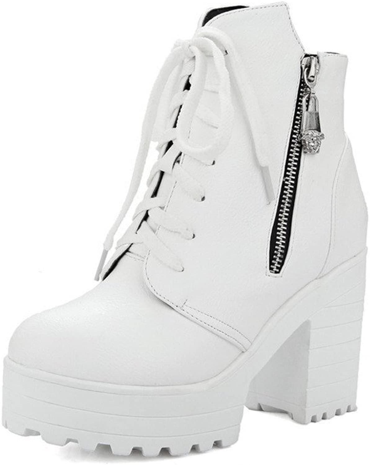 AmoonyFashion Women's Round Closed Toe Low-top High-Heels Solid PU Boots