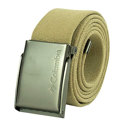 Columbia Men's Military Web Belt-Adjustable One Size Cotton Strap and Metal Plaque Buckle, Khaki