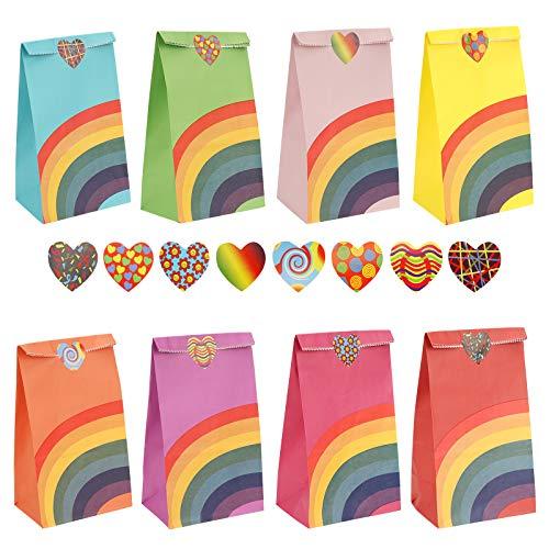 Herefun 48 Stück Papier Geschenktüten, Regenbogen Partytüten, Bunt Candy Tüten mit 100 Aufkleber von Geschenken, Giveaways, Kindergeburtstag, Hochzeit, Party (B)
