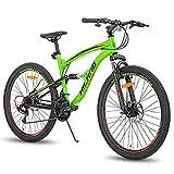 Hiland Bicicleta de montaña de 26 pulgadas para hombre, 21 velocidades, bicicleta de montaña de 45,7 cm, doble suspensión, urbana, para ciudad, color verde