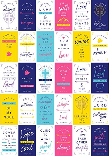 Bible Verse Cards - Inspirational Scripture Messages (60 Unique 3.5 inch x 2 inch Cards)
