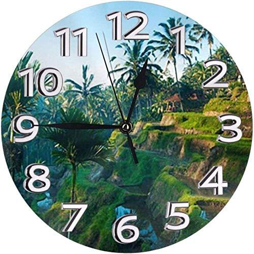 Relojes De Pared Palmeras Reloj De Granja Tradicional Número Reloj De Pared Redondo Números Arábigos Reloj Silencioso Sin Tictac Reloj Decoración Vida Colorida Cocina Escuela 10 Pulgadas