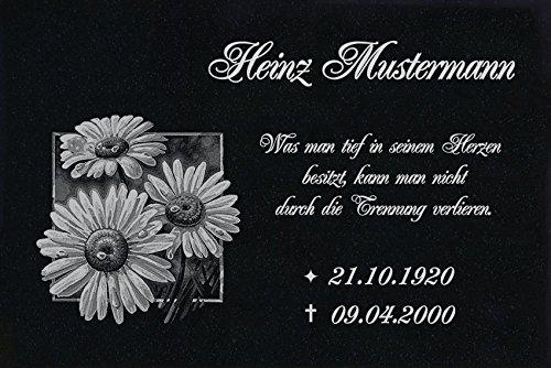 LaserArt24 Granit Grabstein, Grabplatte oder Grabschmuck mit dem Motiv Grabstein-ag29 und Ihrem Text/Daten