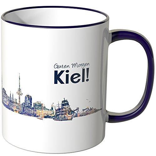 WANDKINGS® Tasse, Schriftzug Guten Morgen Kiel! mit Skyline bei Nacht - LILA