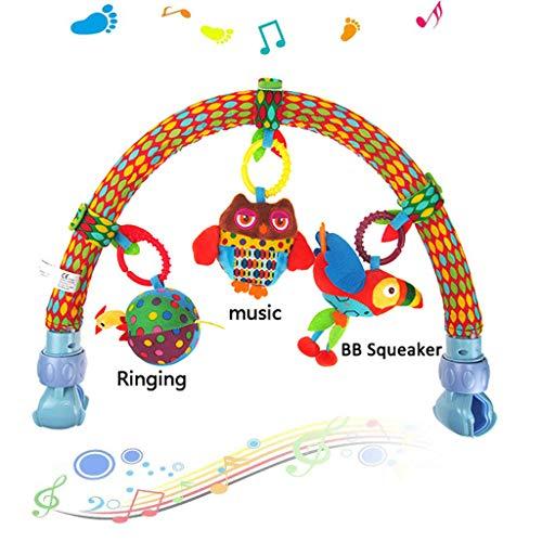 Kinderwagenkette Spielbogen Kinderwagen-Spielzeug mit farbenfrohen Tierfiguren, Rassel, BB Gerät & Musik- Der verstellbare Clip passt auf die meisten Kinderwagen - Geburt (0M+) (Küken, Papagei, Eule)