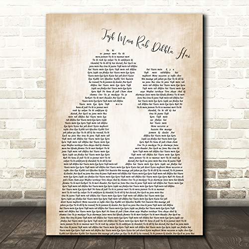 Tujh Mein Rab Dikhta Hai Man Lady Bride Groom Wedding Song Lyric Print