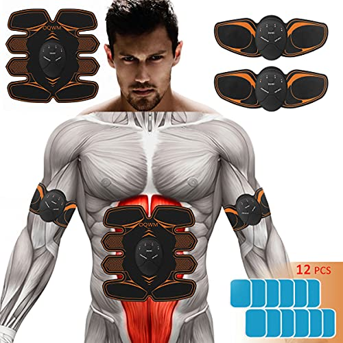 Abs Stimulator Workout Women Man: 8 Pack Ab Stimulator In Body Any Muscle Belly Abdominal Hip Arm Legfor Lounge gym Home Six Modes 10gear 12pcs Free Gel Pads Portable