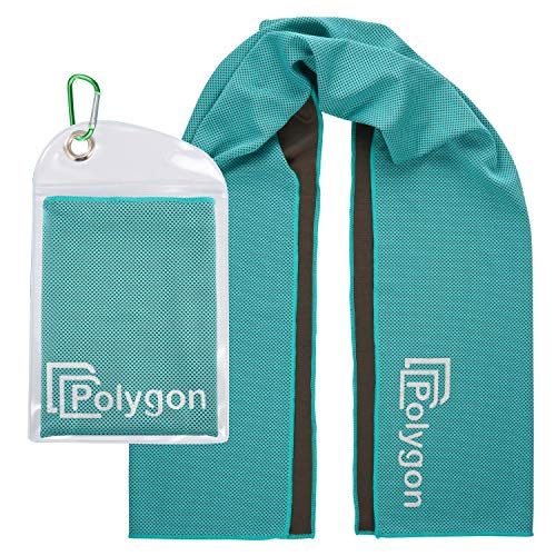 """Polygon Cooling Towel, Microfiber Ice Sports Towel, Instant Chilling Neck Wrap for Sports, Workout, Running, Hiking, Fitness, Gym, Yoga, Pilates, Travel, Camping & More, 40"""" x 12"""", Turquoise"""