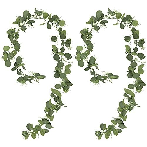 SHACOS 2 Stück Künstliche Eukalyptus Girlande Eukalyptusblätter Hängende Rebe Girlande Pflanze Efeu Rebe Kranz für Hochzeit Tisch Wand Deko