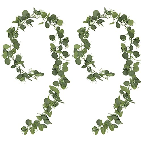 SHACOS 2 Pack 5.9ft Eucalyptus Garland and Faux Gypsophila Garland Artificial Eucalyptus Leaf Foliage Vines Garland Greenery Fake Ivy Hanging Vines for Indoor Outdoor Wedding Party Table Wall Decor
