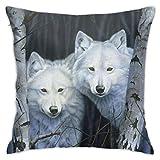 Xiangyang Cojines,Cushion Sofa White Magic White Wolf Panel Funda de Almohada Cuadrada, Moderna Funda de Almohada Decorativa, Adecuada para Decorar sofá, 45X45cm