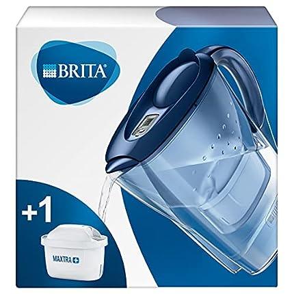 BRITA Marella azul – Jarra de Agua Filtrada con 1 cartucho MAXTRA+, Filtro de agua BRITA que reduce la cal y el cloro, Agua filtrada para un sabor óptimo, 2.4L