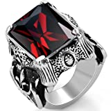 JewelryWe Schmuck Biker Edelstahl Herren-Ring, Damen-Ring, Drachenkralle mit Zirkonia, Farbe Silber...