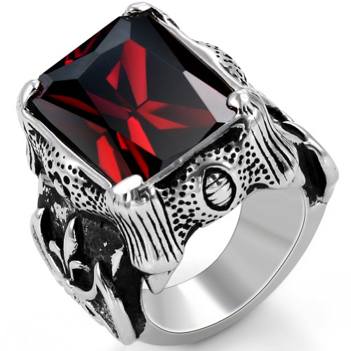 JewelryWe Vintage Style Stainless Steel Wedding Band Dragon Claw Biker Men's Engagement Ring, Black Silver Red Color - Size T