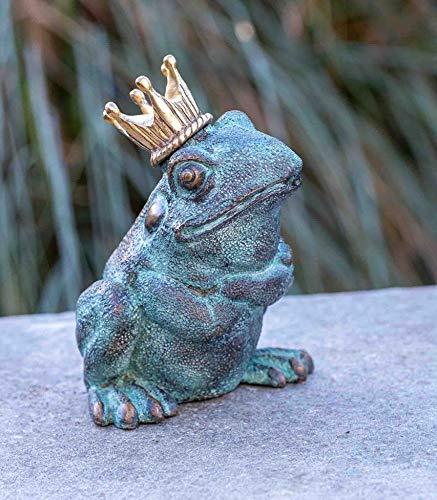 IDYL Escultura de bronce del príncipe rana   20 x 11 x 15 cm   Figura de animal de bronce hecha a mano   Escultura de jardín o estanque   Artesanía de alta calidad   Resistente a la intemperie