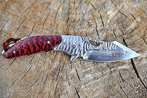 DELLINGER Baracuda VG-10 Damast Taschenmesser & Klappmesser & Damaststahl Messer & Outdoor Damastmesser Folder Knife 8,5 cm Klinge