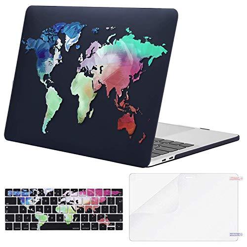 MOSISO Custodia MacBook PRO 13 Pollici 2019-2016 Case A2159/A1989/A1706/A1708&Stesso Colore Tastiera Cover&Proteggi Schermo Compatibile con MacBook PRO 13 con/Senza Touch Bar, Mondo Mappa Base Nera