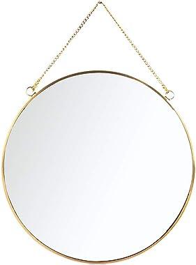 C&Z Espejo colgante de pared redondo de latón dorado con forma de círculo de metal de estilo vintage para decoración de pared