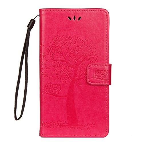 JAWSEU Kompatibel mit LG G7 ThinQ Hülle Leder Flip Case Wallet Tasche Cover Hüllen Eule Baum Muster PU Handyhülle Brieftasche Etui Schutzhülle Handytasche Magnetisch Ständer,Rose rot