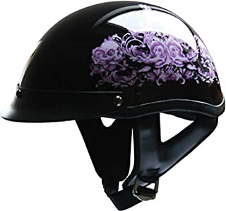 X-Small : HCI Purple Flower Motorcycle Half Helmet with Visor - ABS Shell 100-141