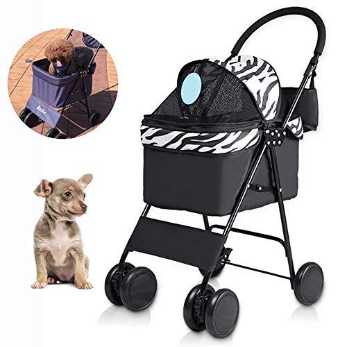YGWL Cochecito para Mascotas,Silla De Paseo Plegable para Perros y Gatos,Ruedas Antideslizantes Amortiguadoras,para Mascotas Pequeñas De Viaje y Salientes,B