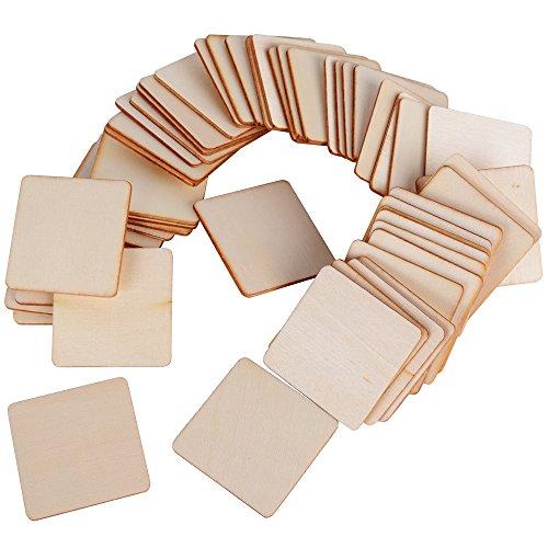 (4cm * 4cm) 50 Stück Holzscheiben Baumscheiben Holzplättchen Holz Platten Basteln Natur Holz Scheibe zum Basteln Bemalen für DIY Basteln Malen DIY Handwerk Dekoration (Quadrat Form)
