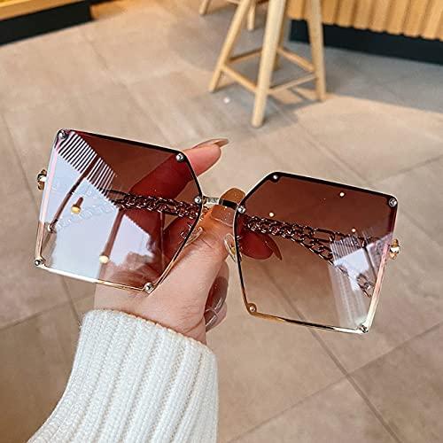 RUK Fashion Gafas de Sol gradiente de Gran tamaño para Mujer con Marco de Cadena de aleación Retro Remache Gafas de Sol cuadradas Estilo Elegante para Mujer