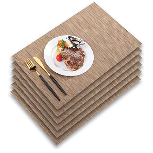 PABUSIOR Placemat, Woven Vinyl Placemats for Dining Table Washable, Easy to Clean Non-Slip Place Mats for Kitchen Table Set of 6 Wipeable (12 X 18 Inch Beige)