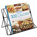 MyGift Modern Countertop Black Metal Cookbook Stand, Display Holder for Books & Tablets