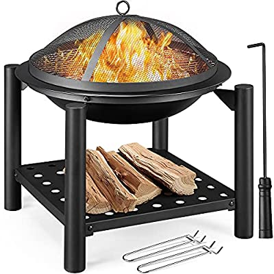 Yaheetech Outdoor Fire Pit, Steel Fire Bowl with Firewood Rack, Cooking Grate, Spark Screen & Poker for BBQ Bonfire Camping Picnic, 54x54x56.5cm from Yaheetech
