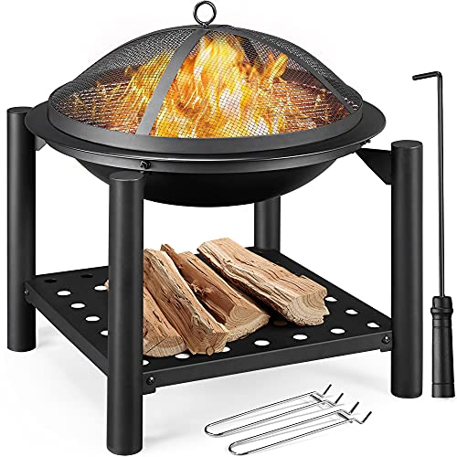 Yaheetech Outdoor Fire Pit, Steel Fire Bowl with Firewood Rack, Cooking Grate, Spark Screen & Poker for BBQ Bonfire Camping Picnic, with 2pcs Cooking Grate Lifter,54x 54x 56.5cm,Black
