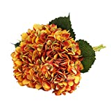 Tifuly Artificial Hydrangea Flower, 5 PCS Ramos de hortensias de Seda de Tallo Largo para Bodas, hogar, Hotel, decoración de Fiestas, centros de Mesa(Naranja Vintage)